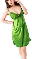 Rokou Women's Sexy Lingerie Satin Charming Nightgown Sleepwear Mini Dress