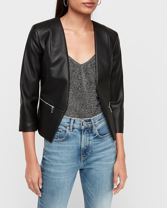 Express Vegan Leather Zip Pocket Cutaway Blazer