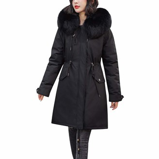Quintra Women Womens Coats QUINTRA Winter Fashion Solid Color Zipper Faux Fur Hooded Jacket Plush Inner Layer Padded Cotton Outerwear Warm Thicken Trench Coat Windbreaker Down Coat Black