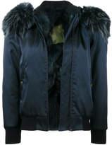 Mr & Mrs Italy Blue fur collar bomber jacket