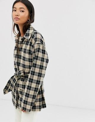 Monki check button-through tie-waist jacket in multi