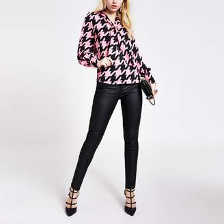 River Island Womens Pink houndstooth tie V neck blouse