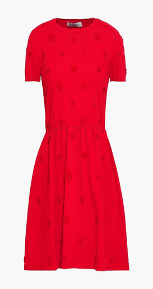 Valentino Flared Floral-appliqued Ponte Mini Dress