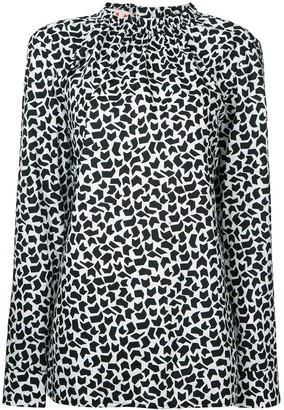 Marni Geometric Print Long Sleeve Blouse