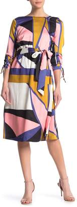 Julia Jordan Geo Print 3/4 Sleeve Midi Dress