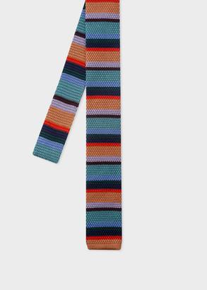 Men's Multi-Colour Stripe Knitted Silk Tie