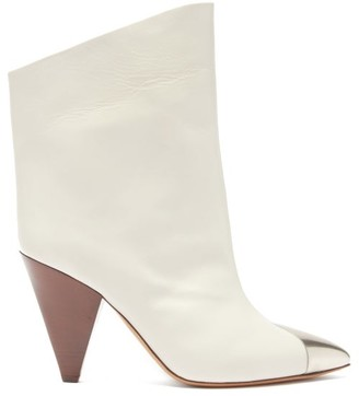 Isabel Marant Lapee Metallic-toecap Leather Ankle Boots - White