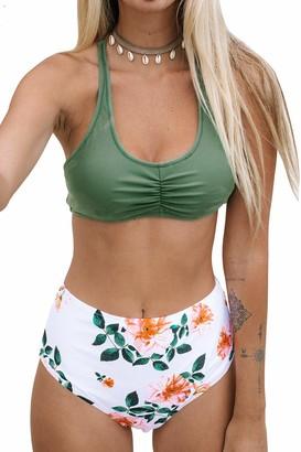 CUPSHE Women's Bikini Set Shirred Lace Up Bikini Swimsuit High Waisted Two Piece Swimwear Bathing Suits Green Floral XS