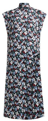 Colville - Popcorn Flower-print Longline Top - Womens - Black Multi