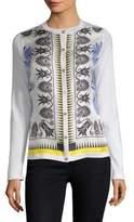 Versace Silk-Insert Knit Cardigan