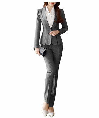 Ysmo Women's Formal One Button Suits Slim 2 Piece Blazer Jacket and Pants Business Office Lady Set Grey