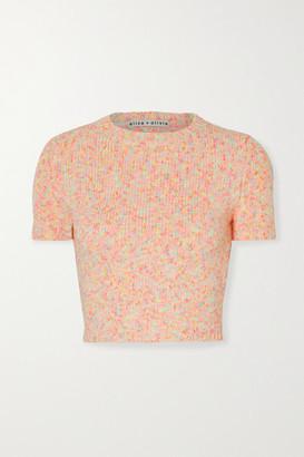 Alice + Olivia Alice Olivia - Ciara Cropped Cotton-blend Sweater - Blush