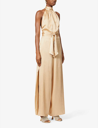 HARMUR Effortless Gold halterneck silk-satin jumpsuit