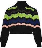 M Missoni Maglia Cropped Crochet-Knit Turtleneck Sweater