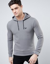 Armani Jeans Overhead Hoodie In Slim Fit Waffle Jersey In Gray