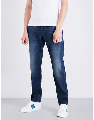 Diesel Mens Blue Classic Regular-Fit Tapered Jeans