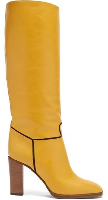 Victoria Beckham Piped Knee-high Leather Boots - Tan