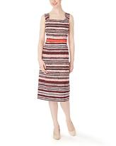 Tomato Stripe Sheath Dress & Three-Quarter Sleeve Jacket - Plus Too