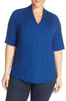 Sejour Plus Size Women's Pleat Shoulder Stretch Knit Tee