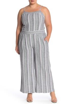 Susina Stripe Linen Blend Jumpsuit (Plus Size)