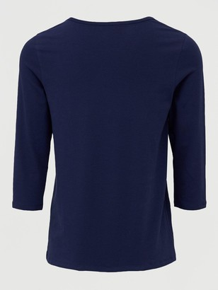 Very The Essential Three Quarter Sleeve Crew Neck T-Shirt - Navy