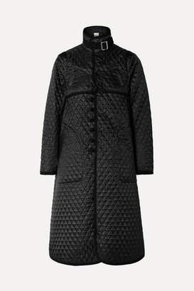 Noir Kei Ninomiya Quilted Canvas-trimmed Houndstooth Satin-jacquard Coat - Black