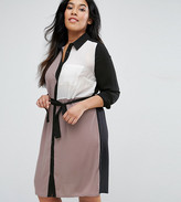 Lovedrobe Plus Shirt Dress In Colour Block