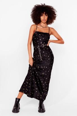 Nasty Gal Womens Star Power Satin Maxi Dress - Black - 4, Black
