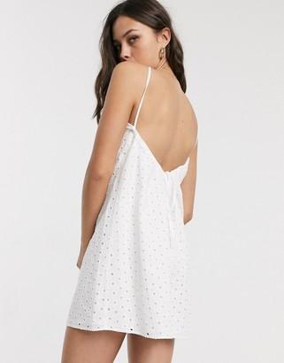 Asos DESIGN broderie low back mini sundress in white