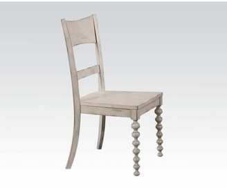 Bungalow Rose Dunwall Ladder Back Side Chair in Antique White