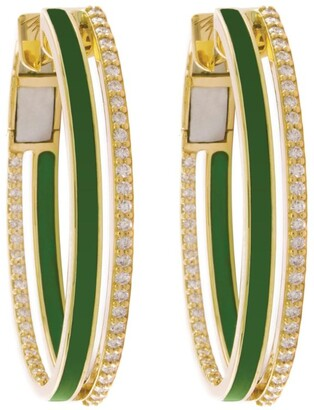 Alessa Yellow Gold, Diamond and Enamel Spectrum Hoop Earrings