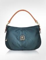 Nylon and Leather Convertible Hobo Bag