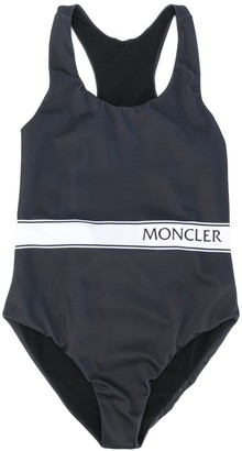 Moncler Enfant Printed-Logo Crew Neck Swimsuit