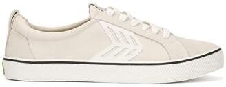 Cariuma CATIBA Low Stripe Vintage White Suede and Canvas Sneaker