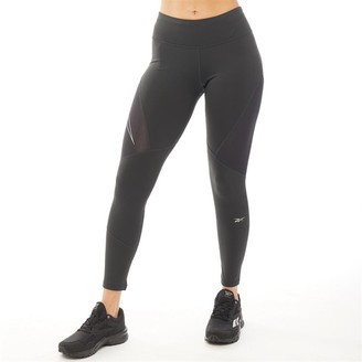 Reebok Womens One Series Running Logo Reflective Tight Leggings Black