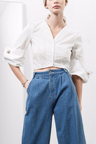 J.o.a. Wide Cuff Cropped Shirt