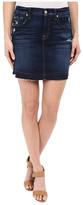 7 For All Mankind Mini Pencil Skirt with Released Hem & Distress in Mykonos Dark Indigo