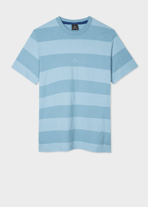 Paul Smith Men's Sky Blue Block-Stripe Organic Cotton T-Shirt