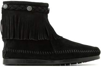 Minnetonka Suede Fringed Ankle Boots with Ankle Plait