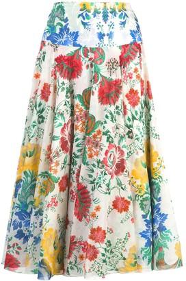 Samantha Sung Aster floral print skirt