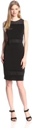Andrew Marc Women's Sleeveless Dress with Mesh Yoke