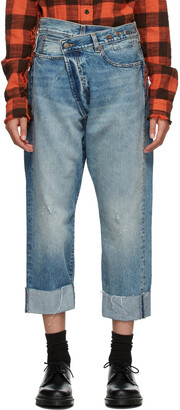 R13 Blue Cross-Over Jeans