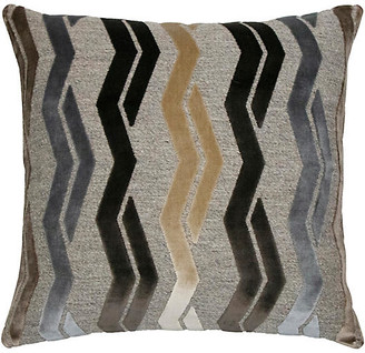 The Piper Collection Paxton 22x22 Pillow - Mocha/Gray Velvet cover, mocha/gray/multi; back, taupe