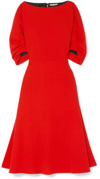 Emilia Wickstead Gathered Wool-crepe Midi Dress