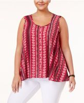 Style&Co. Style & Co Plus Size Printed-Stripe Top, Created for Macy's
