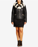 City Chic Trendy Plus Size Faux-Fur-Trim Moto Jacket