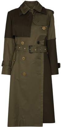 Sacai Belted Double-Breasted Trench Coat