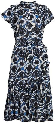 MUNTHE Tie-Dye Ruffle Midi Dress