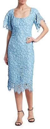 Lela Rose Floral Lace Flutter-Sleeve Sheath Dress