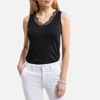 Anne Weyburn Cotton Vest Top with V-Neck